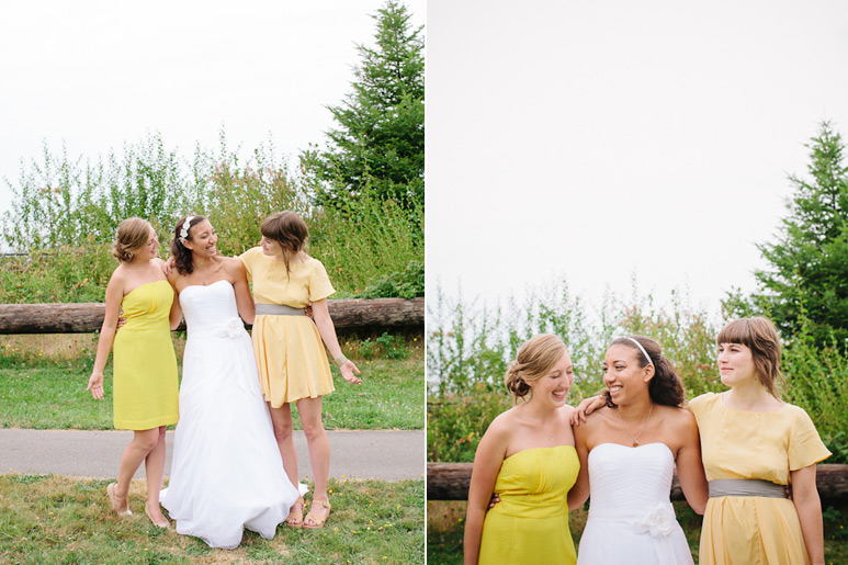 Bride and bridesmaids at Discovery Park wedding in Seattle
