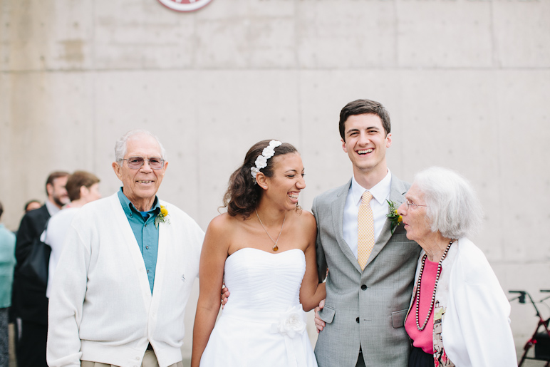 Portrait of bride and groom with grandparents at Seattle wedding