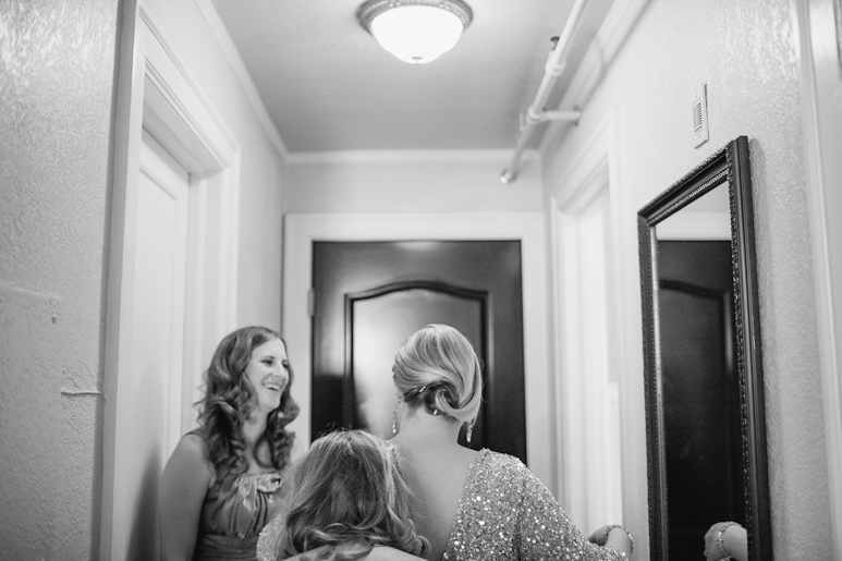 Bride getting ready for wedding at the MarQueen Hotel, Seattle