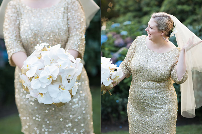 Bride with orchids at Parson's Garden wedding, Seattle