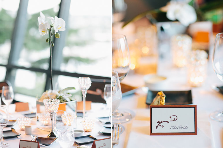 Table settings for wedding at Canlis restaurant in Seattle