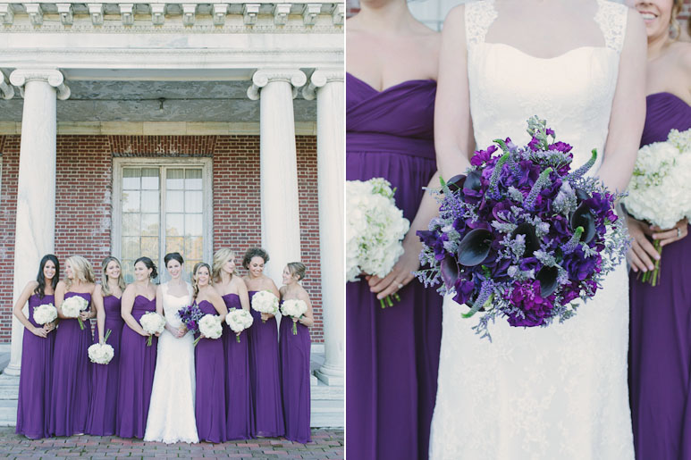 Bride and bridesmaids with bouquets at Elm Bank
