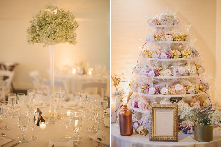 Centerpieces and favors at Elm Bank wedding in Wellesley, MA