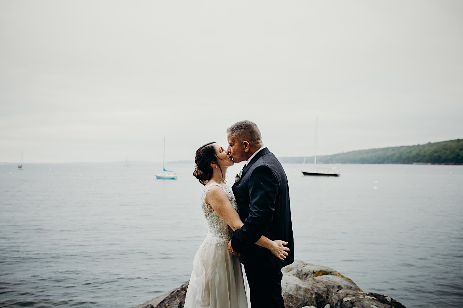 Bride and groom at Beauchamp Point, Rockport