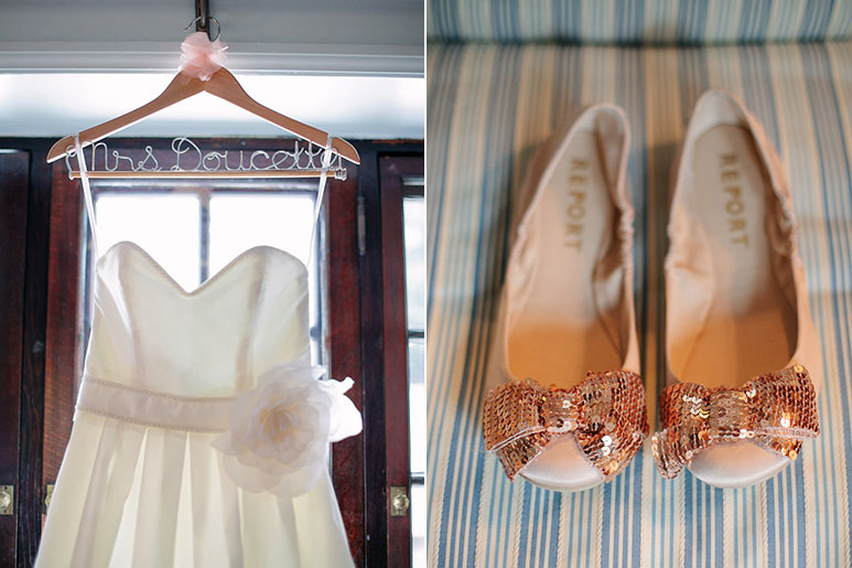 Wedding dress, hanger and shoes at Willowdale Estate